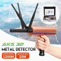 Newest AKS 3D Detective Metal Detector Underground 3 Antenna Long Range Gold Diamond Treasure Hunter Seeker Portable Detector
