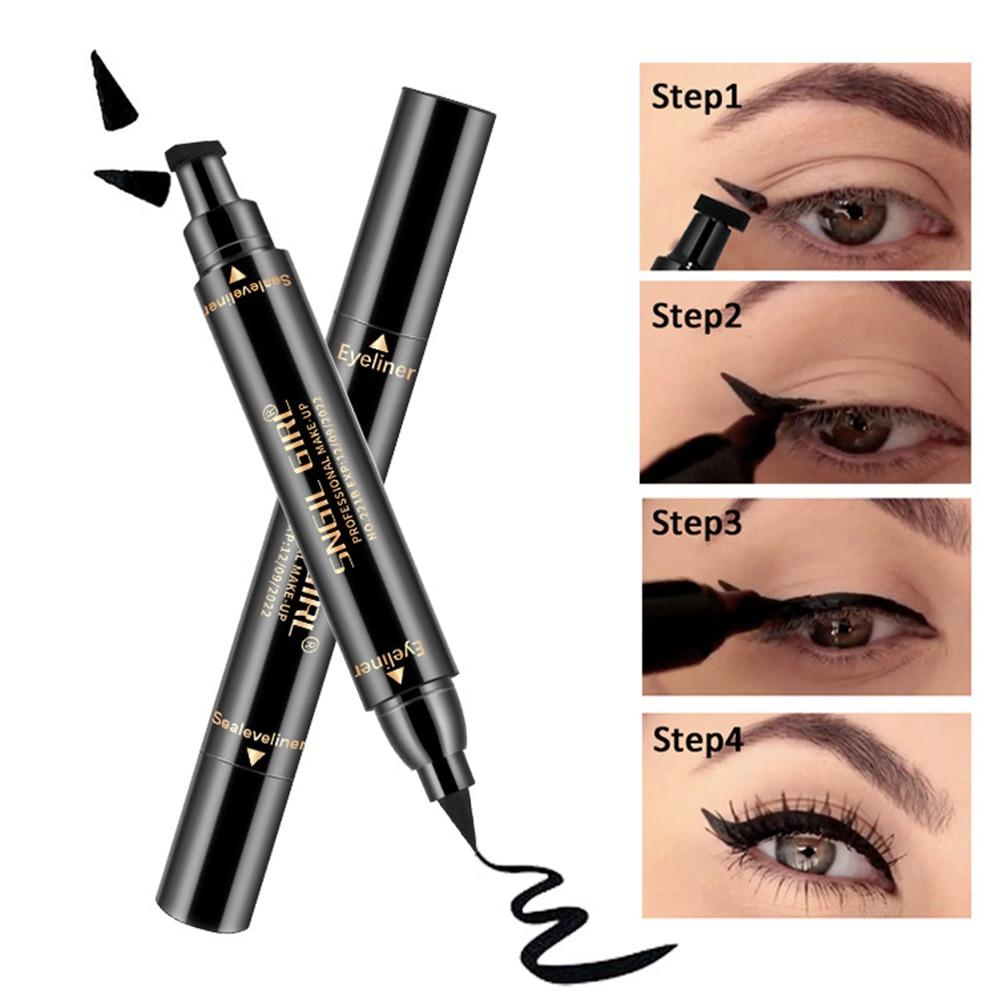 1 Pcs Double-headed Seal Black Eyeliner Triangle Seal Eyeliner 2-in-1 Waterproof Eyes Make Up With Eyeliner Pen Eye Liner Stamp