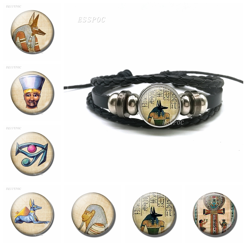 Lord Underworld Anubis Glass Cabochon Egyptian Jewelry Black Braided Leather Bracelet Men Women Gift