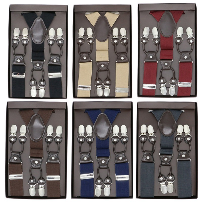 Microfiber Suspenders Brown Leather 6 Clips Braces Vintage Casual Suspensorio Tirante Trousers Strap Bretele Father/Husband Gift