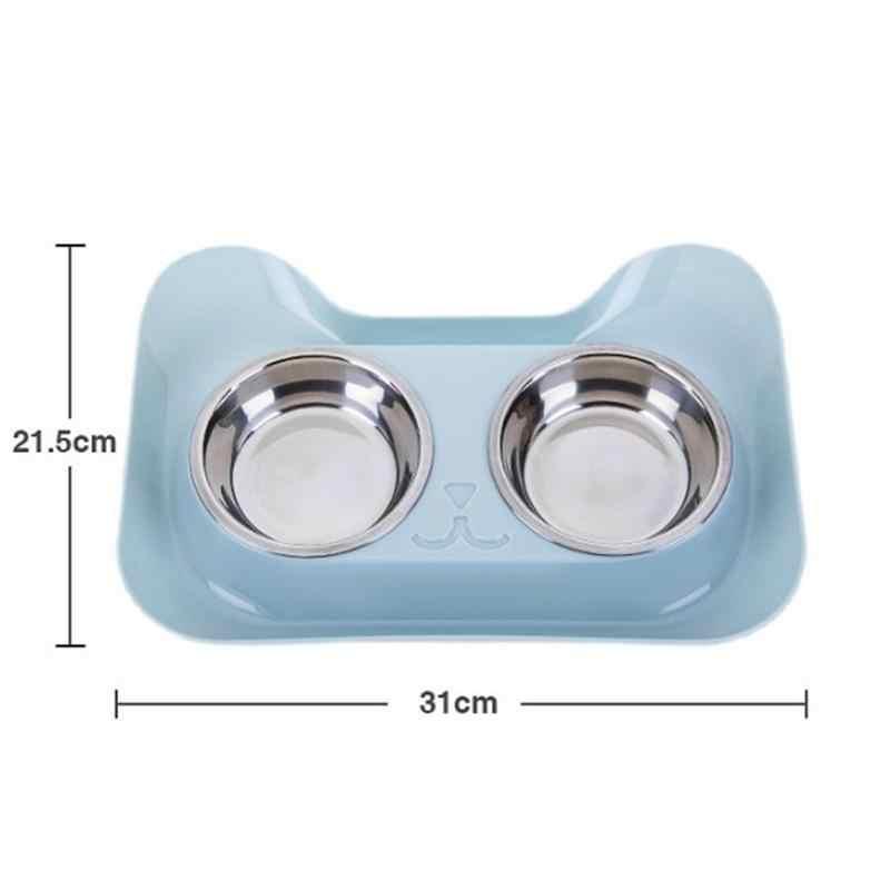 Миска для кошек, двойная миска из нержавеющей стали для домашних животных, прочная нескользящая конструкция для домашних животных, высокое качество подачи воды для кота собаки домашнего животного, Новинка