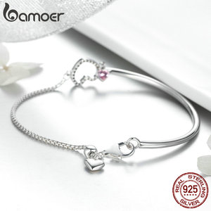 Image 4 - BAMOER Romantic New 100% 925 Sterling Silver Heart Pink CZ Chain Link Bangles Bracelets for Women Sterling Silver Jewelry SCB117