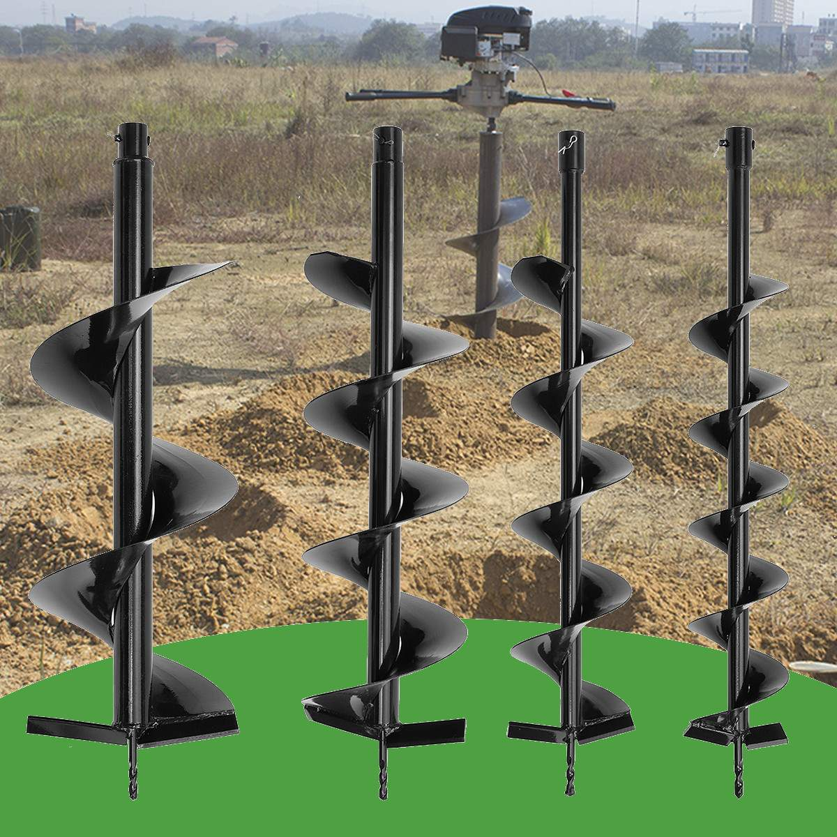 80cm Single Blade Auger Drill Bit Drill Garden Planting Earth Petrol Post Hole Digger Power Tools Accessories 120/150/200/250mm|Drill Bits| |  - title=