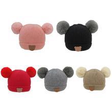 acdbac3e3fa Fashion Kids Boys Girls Bear Pattern Warm Hat Hair Ball Knitted Beanie Cap  Autumn Winter Newborn