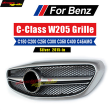 W205 grille AMG-style ABS silver For Benz C180 C200 C250 C300 C350 C400 Without Emblem Front Grille 15-in Natural Bumper