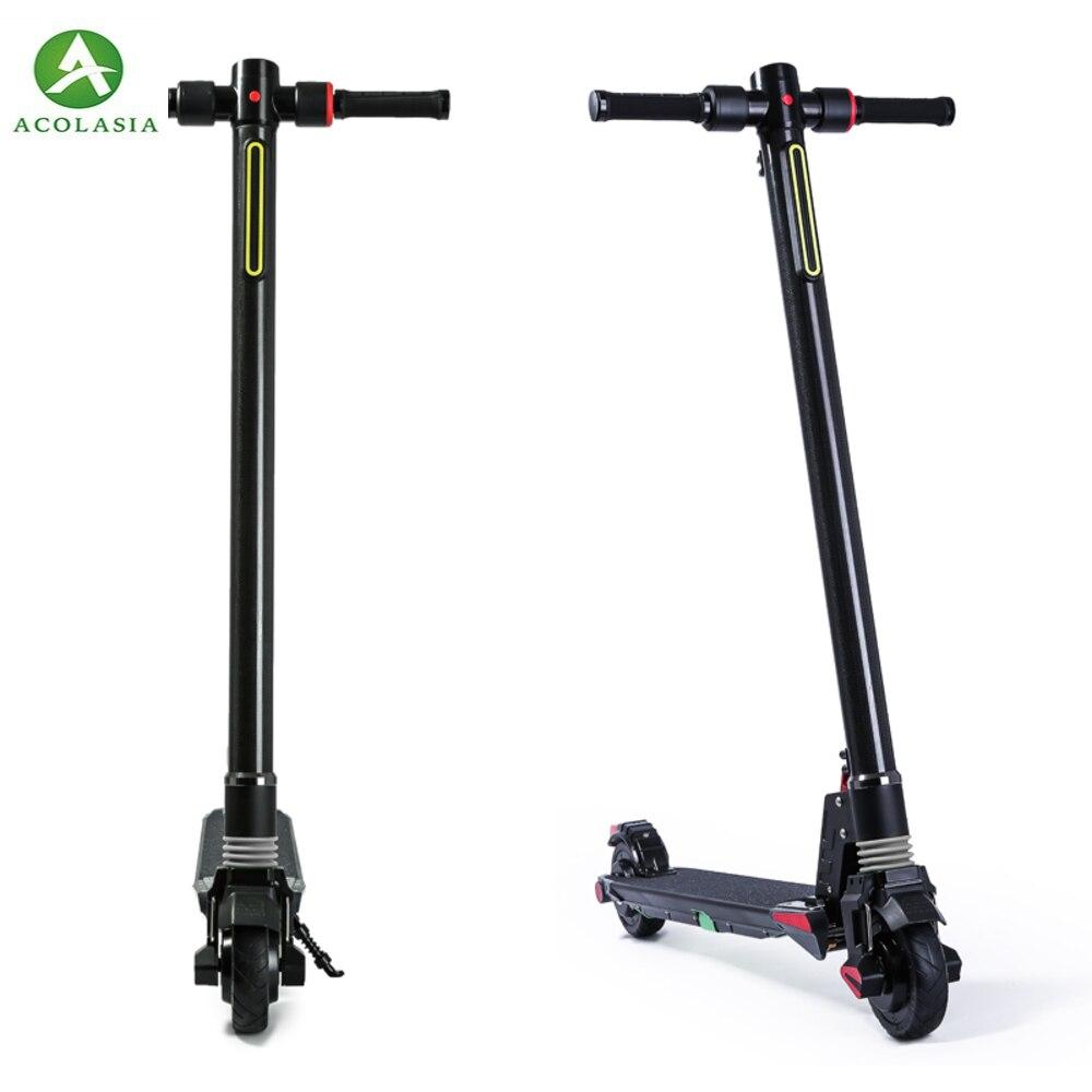 Double moteurs 2018 nouvelle Fiber de carbone pliant Scooter électrique Scooter planche à roulettes vélo coup de pied Scooter puissant vélo électrique