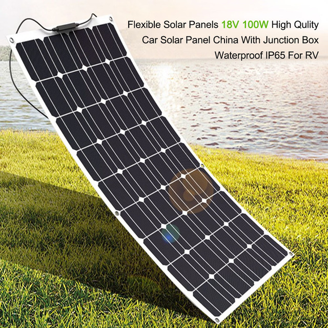 Outdoor 18V 100W Flexible Solar Panels High Quality Car Solar Panel Monocrystalline Silicon With Junction Box Waterproof For RV