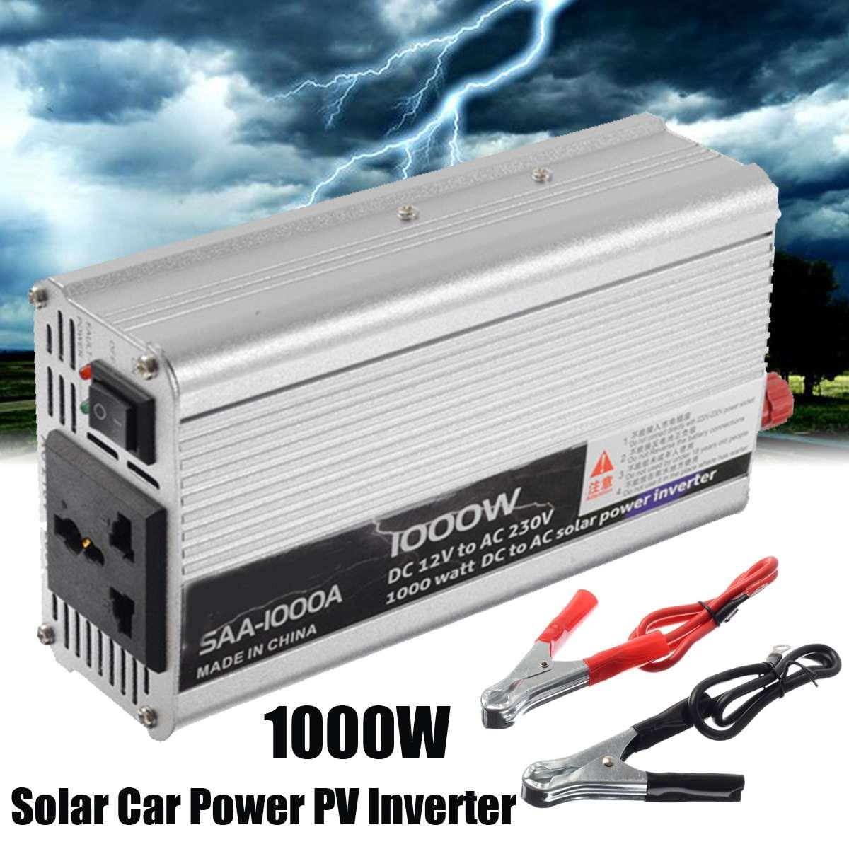 1000W DC 12V to AC 220V Converter Transformer Home Car Solar Power PV Inverter Converter Pure Sine Wave Supply Switch Wind Power