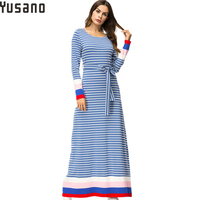 Yusano Women Nightgown Casual Loose Striped Long Sleeve Round Neck Maxi Long Night Dress Female Home Dress Plus Size Nightshirt