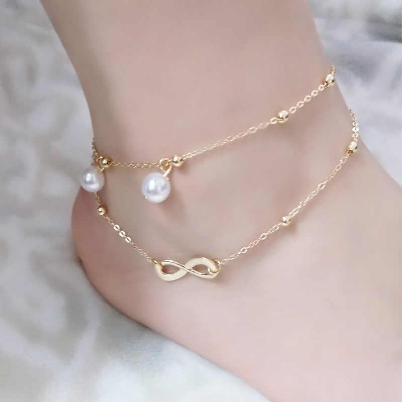 Женская цепочка из сплава неограниченный двойной жемчужный браслет на лодыжке ювелирные изделия Jewelry180510-1 для ног