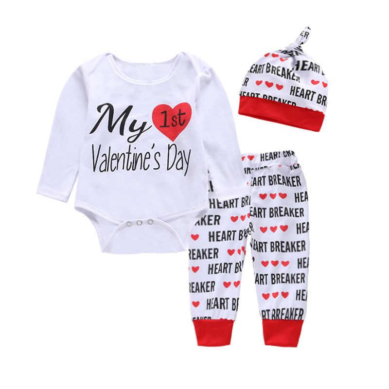 3 в 1 день Святого Валентина шляпа брюки рубашки для маленьких девочек и  мальчиков комплект одежды 59e6495aacf