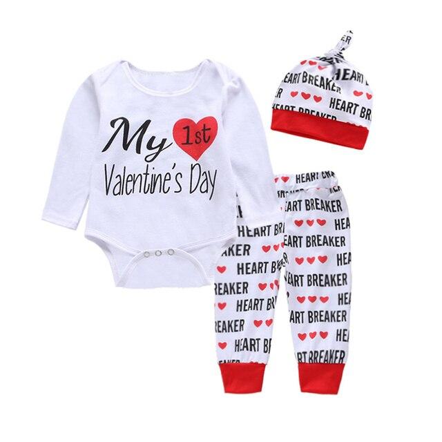 3 en 1 Día de San Valentín sombrero pantalones camisas bebé niña niño ropa  conjunto Carters 4d3c1d82c72e