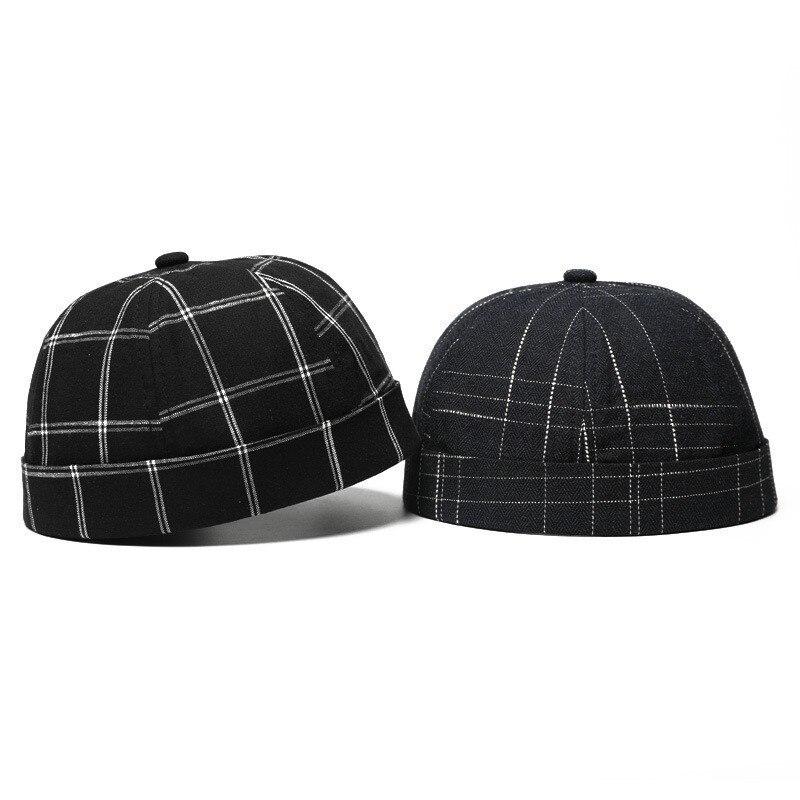 JAMONT Cotton Retro Crimping Brimless Skull Caps Autumn Winter Cap Beanies For Men Women Beanie Plaid Hip Hop Bonnet Miki Hat beanie