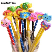 EZONE 10 PCS/Set Cute Cartoon Animal Pencils With Eraser Korea Novelty Standard Creative Gift Children School Stationery