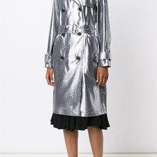 Длинный двубортный плащ, повседневное серебряное пальто на шнуровке, женская модная Высококачественная Весенняя Свободная верхняя одежда с поясом