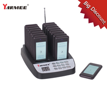 Wireless Restaurant Pager Coaster Waiter Paging Queuing System Rechargeable Power cable 16PCS receivers