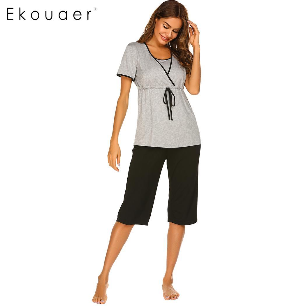 Ekouaer Women Summer Sleepwear Casual   Pajamas   Short Sleeve T-shirts Half Length Pants Loose Breastfeeding Maternity   Pajama     Sets