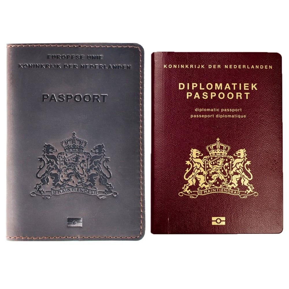 New Arrivals Genuine Leather Passport Cover for Netherlands Dutch Credit Card Holder Holland Passport Case Travel Wallet