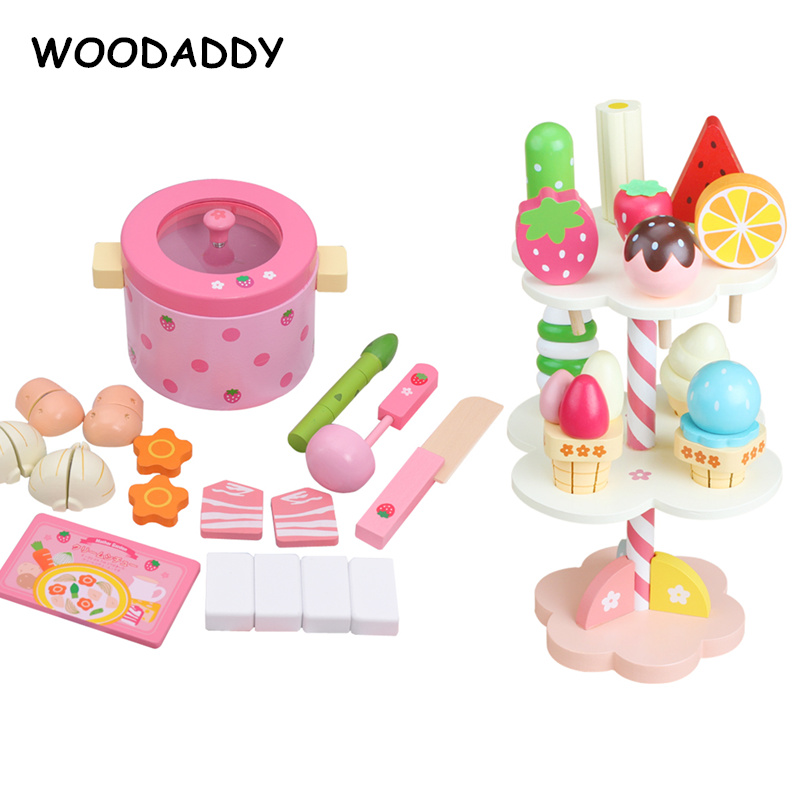 Dropshipping Strawberry Simulation Hot Pot Set Cooking Wooden Toys For Kids Ice Cream Stand Afternoon Tea Set Educational Gift