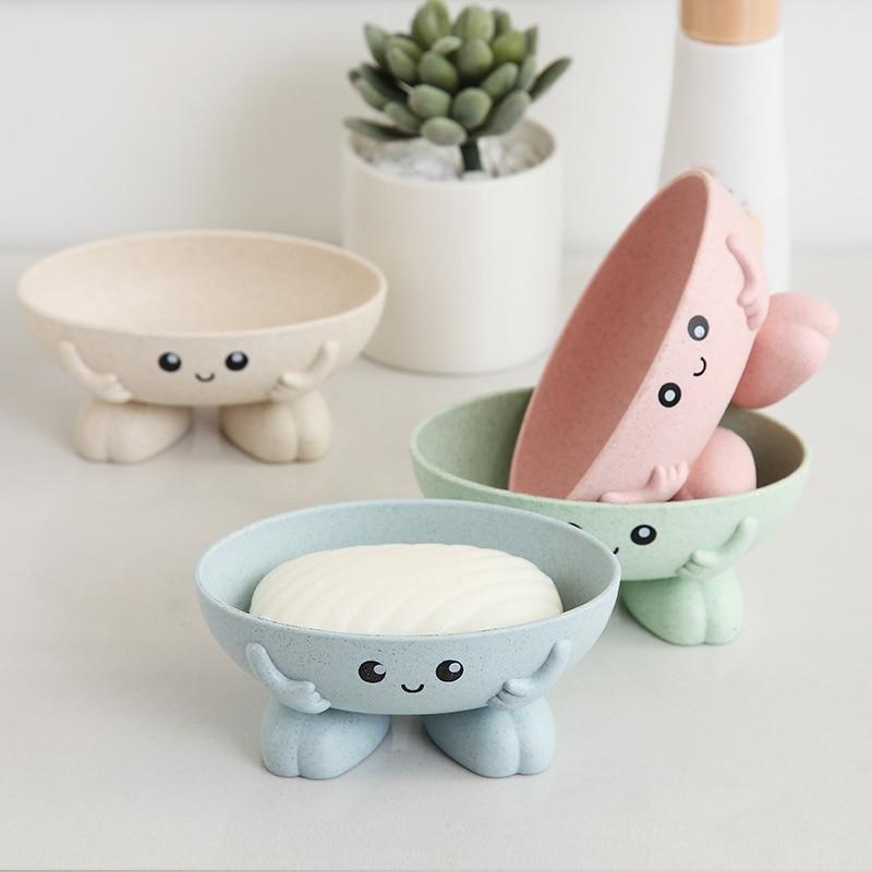 Eco-friendly 1Pcs Soap Box Non-slip Soap Dish Bathroom Supplies Soap Holder Cartoon Shape 1