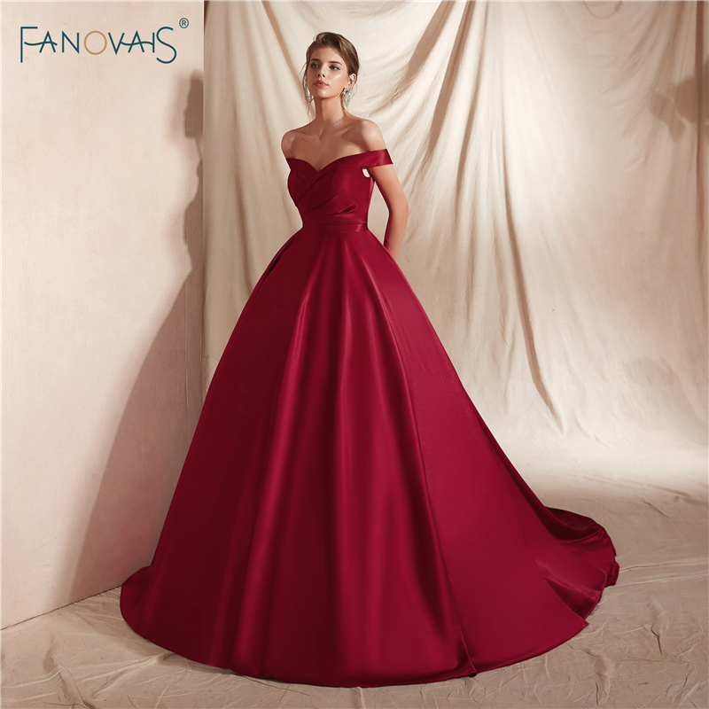 New Burgundy   Evening     Dresses   2019 Off the Shoulder Princess Ball Gown   Evening   Gowns Long Train Satin Vestido de Fiesta NE18