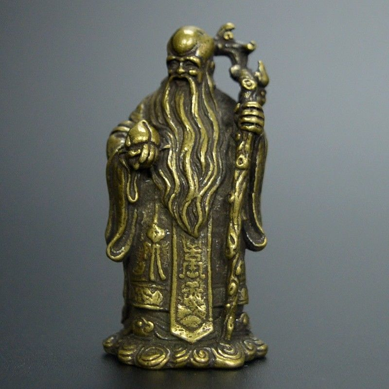 Chinese Old Collection Handwork Bronze Carved God Of Longevity Statue