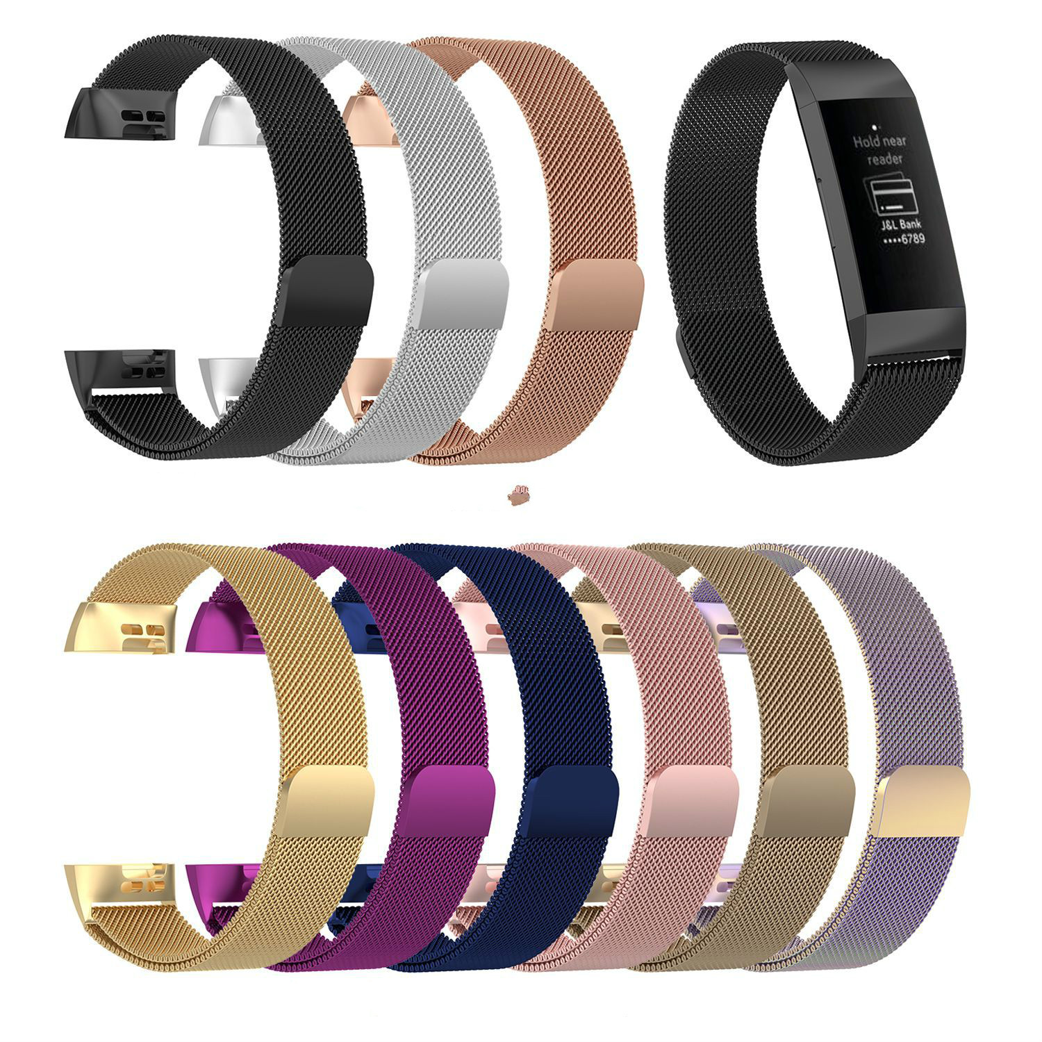For Fitbit Charge 3 Band Milanese for Fitbit Charge 3 Milanese Band Stainless Steel Magnetic Loop Smart Watch Strap ReplacementFor Fitbit Charge 3 Band Milanese for Fitbit Charge 3 Milanese Band Stainless Steel Magnetic Loop Smart Watch Strap Replacement