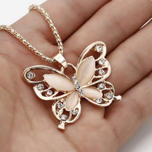 Butterfly Pendant Crystal Necklace Women Choker Necklaces Female Sweater Chain Necklace Collier Femme Statement Necklaces Gifts(China)