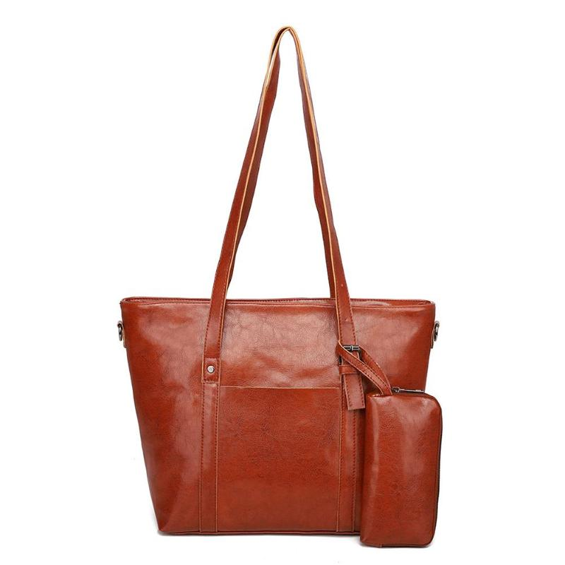 Women's Bags Generous 2pcs/set New Women Large Capacity Totes Handbag Solid Color Travel Shopping Bag Clutch Leather Shoulder Bags Purse Female Be Friendly In Use