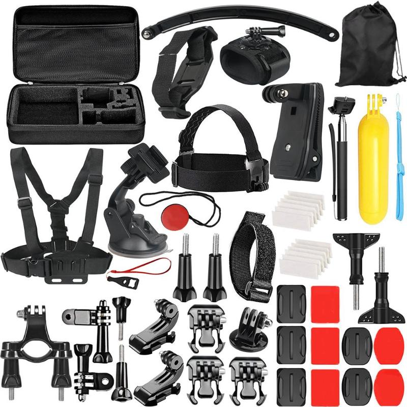 ALLOET 49 in 1 Action Camera Waterproof Case Chest Strap Wrist Band Accessories Kit For GoPro Hero 6 5 4 3+ 3 2 SJCAM Xiaomi Yi