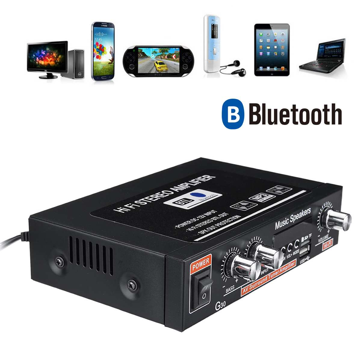 12V/220V 100W+100W Audio Power Amplifier bluetooth HiFi