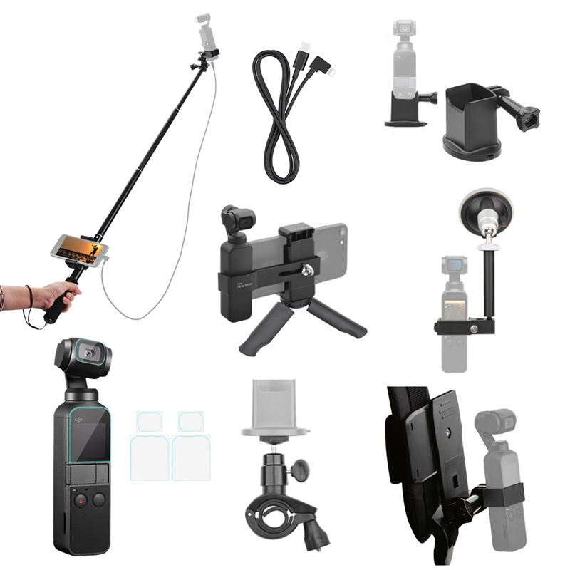 Image 2 - For Osmo Pocket Accessories Set,Ptz Adapter With Ptz Extension Rod And Car Bracket And Bicycle Bracket And Film 2 Suit And Bac-in Tripods from Consumer Electronics