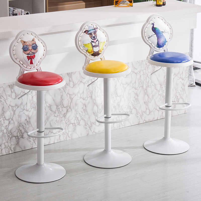 Modern Minimalism High Foot Chair Bar High Stool Mobile Phone Store Stool Backrest Bar Stool Household Rise And Fall Bar Chair