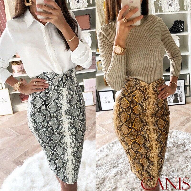 High Waist Snake Print Skirt Women Bodycon Vintage Knee Length Skirt Empire Bud Female Skirt
