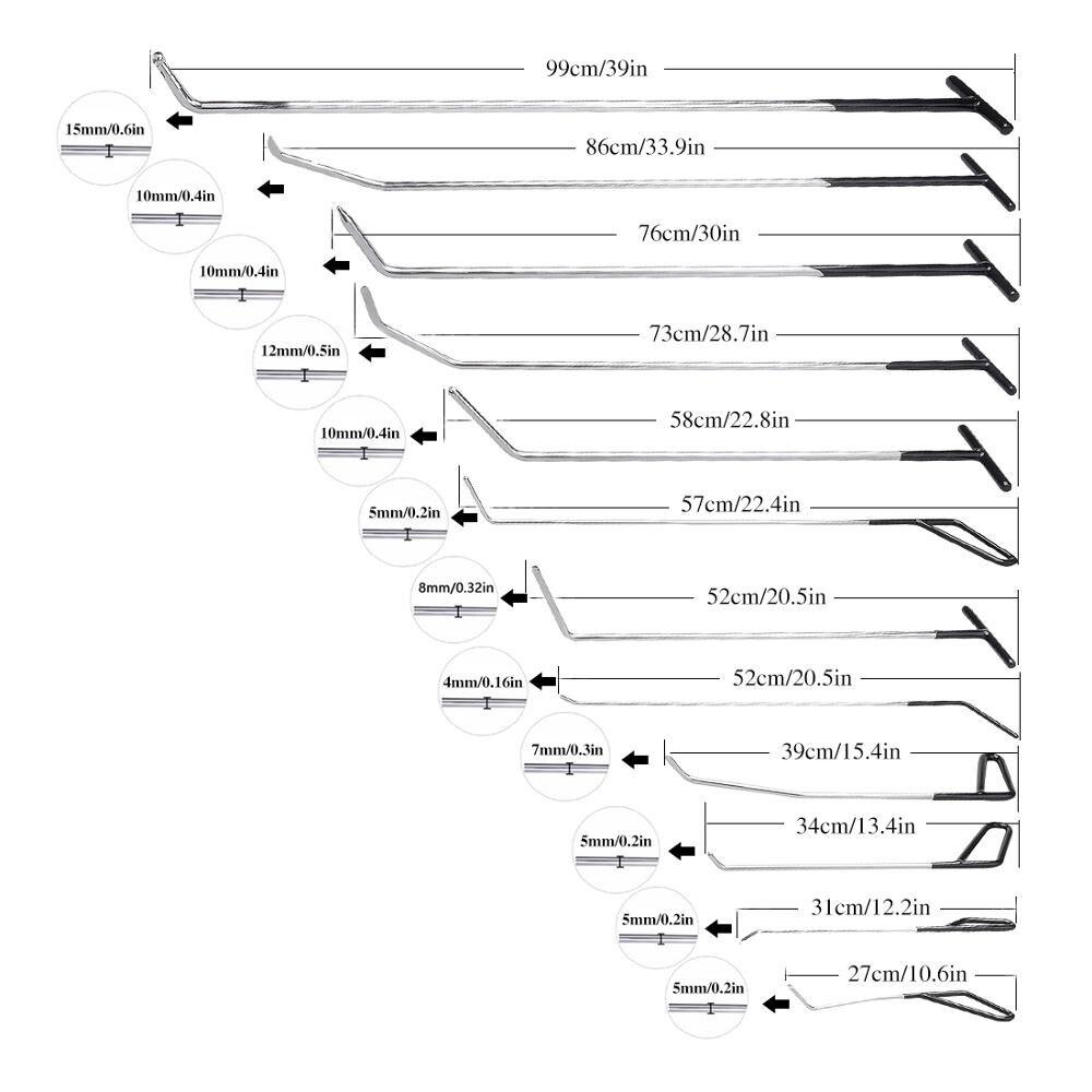 Super PDR Outils 12 pièces Crochet Noir Tige De Poussée En Acier Inoxydable Voiture Pied-de-Biche de Débosselage sans peinture Outils Professionnel Barres de Levier Outil