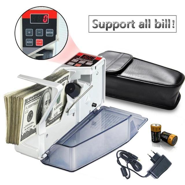 VKTECH Portable Mini Handy Money Counter for Most Currency Note Bill Cash Counting Machine EU V40 Financial Equipment EU Plug