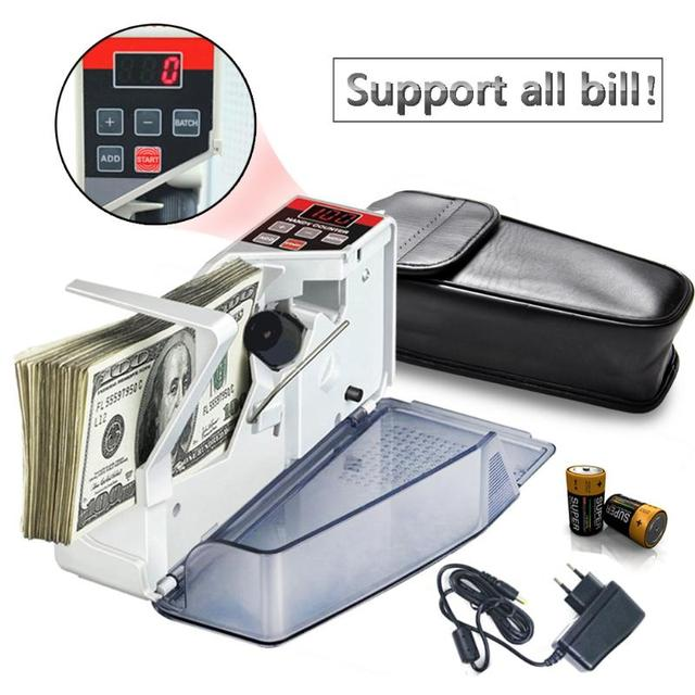 Vktech portátil mini contador de dinheiro acessível para a maioria das notas de moeda bill máquina de contagem de dinheiro EU V40 equipamentos financeiros plugue da ue