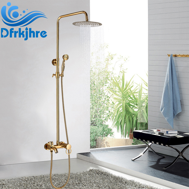 Super Us 84 0 40 Off Dfrkjhre Luxury Golden Brass Bath Faucets Bathroom Faucet Mixer Tap Wall Mounted Hand Shower Set Shower Faucet Sets In Shower Faucets Home Interior And Landscaping Eliaenasavecom
