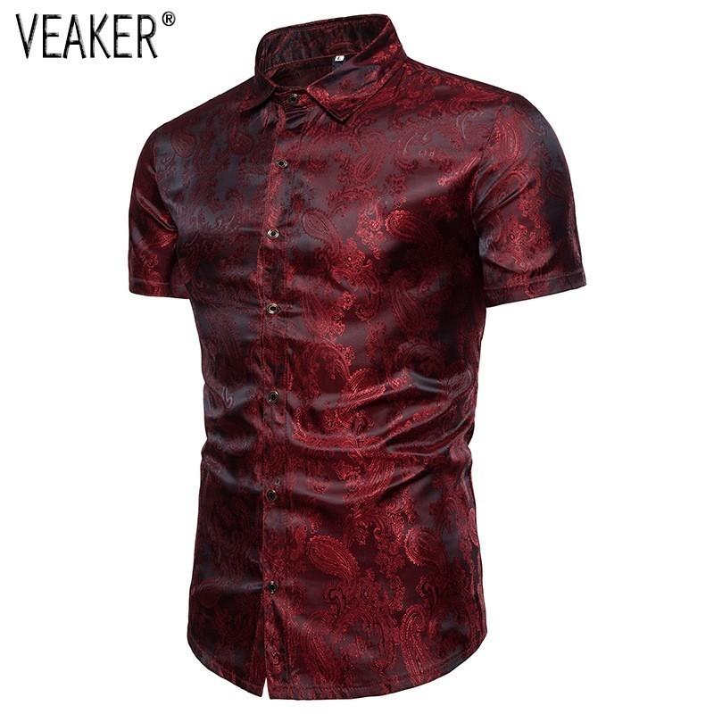 2019 New Men's Short Sleeves Shirts Male Red Blue White Silk Satin Floral Printed Shirt Tops M-3XL