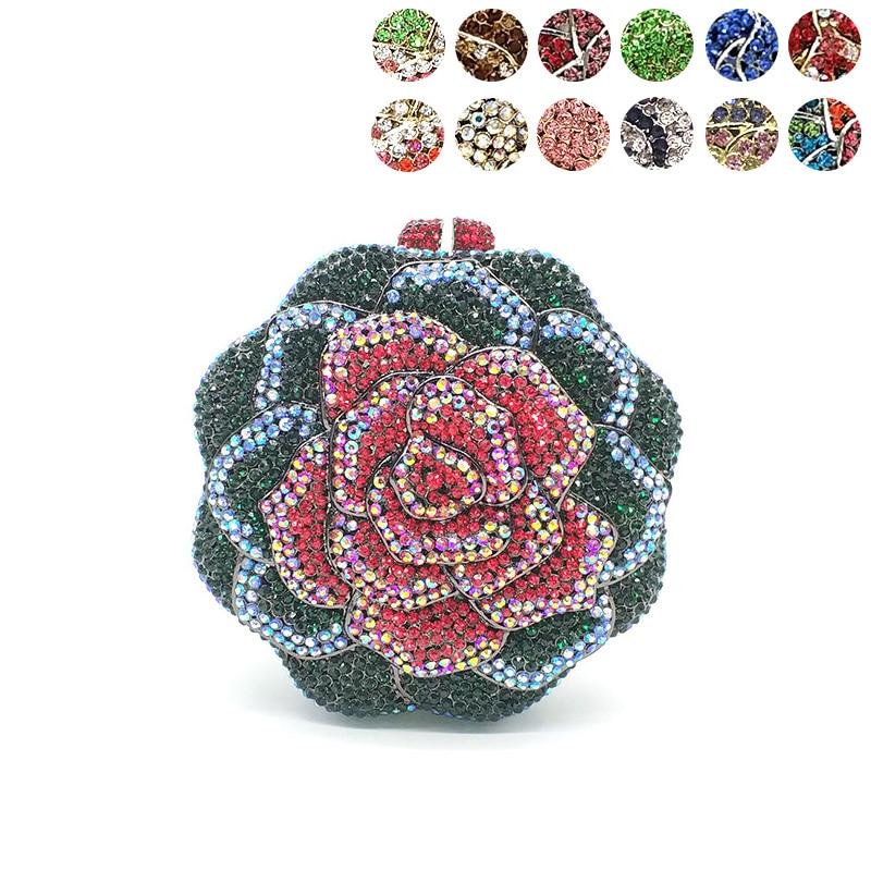 Women evening party bag diamonds crystal clutch luxury bridal wedding party wallet purse handbag flower rose