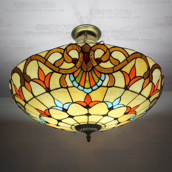 60 Cm Cor do Estilo Barroco Europeu de Vidro Tiffany Quarto Lâmpada Do Teto Sala de estar Levou Anti Enforcamento E27 110-240 v