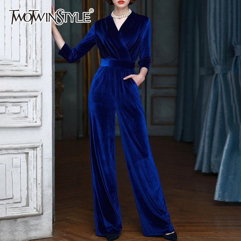 TWOTWINSTYLE Velour   Jumpsuit   Female V Neck Wrist Sleeve High Waist Bandage Women's Romper Fashion Elegant 2018 Autumn Clothes