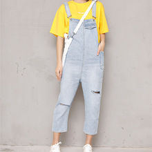 Spring Autumn Women Strap Jeans Female Overalls Pants Casual Ripped Hole Pocket Denim Jumpsuit Ankle-Length Trousers