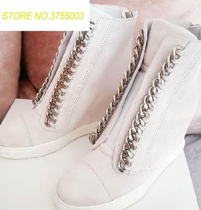 New Fashion White Leather Women Chain Flats Round Toe Lace Up Increased Heel Casual Style Shoes Zipper Back Roma Flats Size 41New Fashion White Leather Women Chain Flats Round Toe Lace Up Increased Heel Casual Style Shoes Zipper Back Roma Flats Size 41