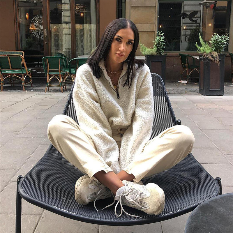 2018 Winter Fashion Womens Fleece Crop Hoodies Zipper Long Sleeve Pullovers Loose Sweatshirts Casual Tops in Hoodies amp Sweatshirts from Women 39 s Clothing