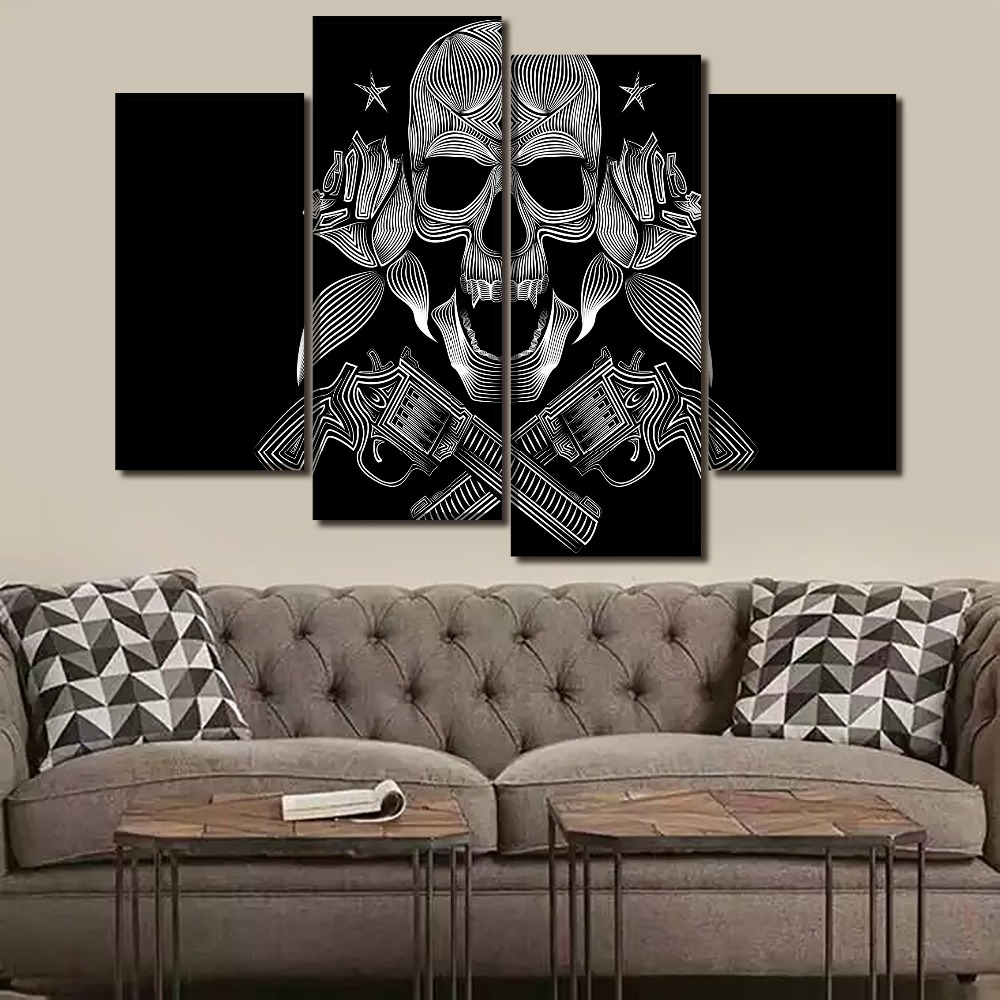 Canvas Painting Framework For Living Room Wall Art Home Decor 4 Piece Skull Gangsters Modular Picture HD Print Poster in Painting Calligraphy from Home Garden