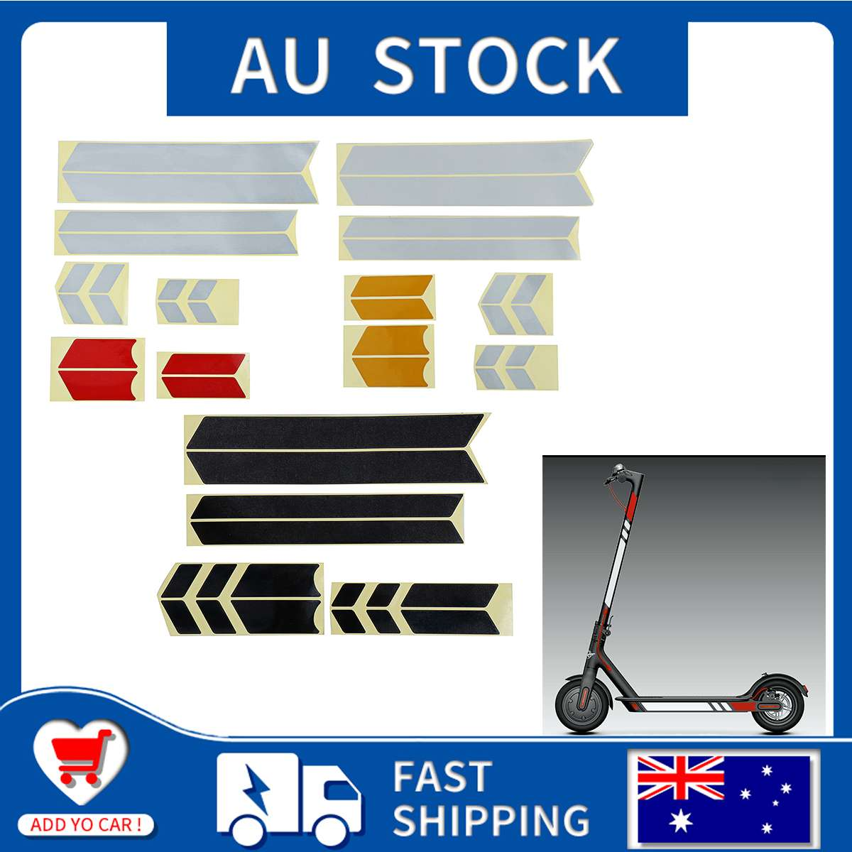 Reflective Stickers Electric Scooter Reflect Light Tags Paster Decals Night Safety Warning Strip Reflector For Xiaomi Mijia M365