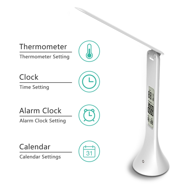 LED Desk Lamp Foldable Dimmable Touch-Type Table Lamp With Calendar Temperature Alarm Clock Table Light Night Lights