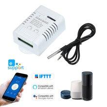 EWeLink TH 16 Smart Wifi Schakelaar Monitoring Temperatuur Draadloze Domotica Kit met Waterdichte DS18B20 Temperatuur Sensor