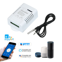 EWeLink TH 16 الذكية واي فاي التبديل مراقبة درجة الحرارة اللاسلكية أتمتة المنزل عدة مع مقاوم للماء DS18B20 استشعار درجة الحرارة